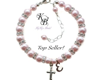 white designsbycrissi pearls any deal crystals initial on with baptism colors personalized beautiful amazing and shop etsy cross pink bracelet christening charm