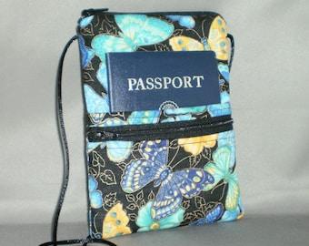 Wallet on a String - Butterfly -  Sling Bag - Passport Purse - Blue