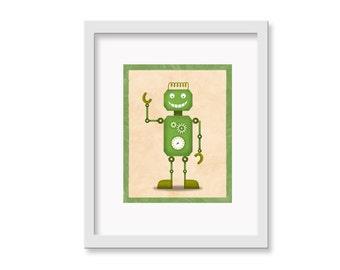 """Robot Print """"Doug"""" - 8"""" x 10"""" Children's Decor Wall Art Print - Children's Retro Robot Theme Room Decor"""
