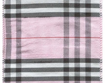 """4"""" Wired Baby Pink Ribbon - Burberry Plaid Print - 10 Yards"""