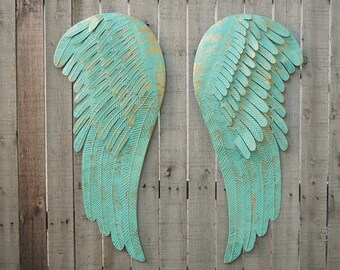 Large Angel Wings, Wall Decor, Shabby Chic, Aqua, Gold, Metal, Rustic, Hand Painted, Shabby Chic Decor, Boho, Wedding, Nursery Decor