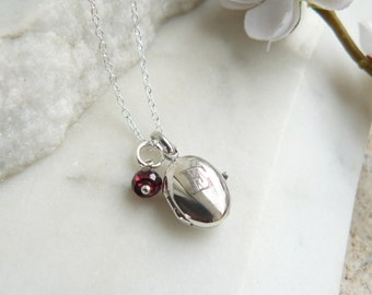 Personalised Silver Locket with Birthstone, Tiny Sterling Silver Locket, Small Oval Locket Necklace
