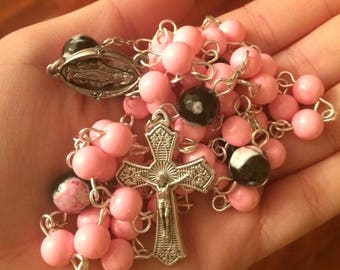 Pink glass bead and Rhodonite Rosary