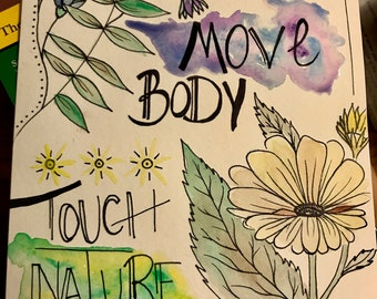 Move Body Touch Nature Watercolor