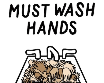 Employees Must Wash Hands - Illustrated Print