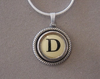 Typewriter key jewelry necklace CREAM  LETTER D  Typewriter Key Necklace - Initial D serif font Initial  Necklace D