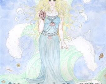 Water Fairy Undine Nereid Sea Goddess Siren Print Mermaid Wall Art Ink Watercolour Illustration Bathroom Beach Decor Ocean Spirit Elemental