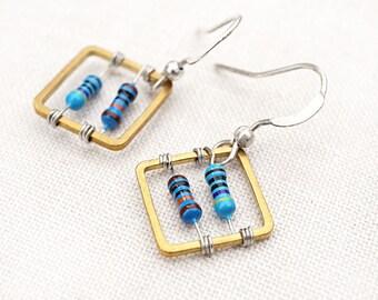 Statement Jewelry One Square Wearable Tech Computer Earrings Techie Jewelry Blue Petite Resistor Geometric Earrings Electronics Eco Friendly