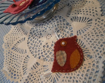 Dark red felt bird hanging decoration