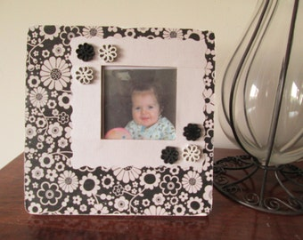 3x3 Floral Themed - Hand Decorated Picture Frame