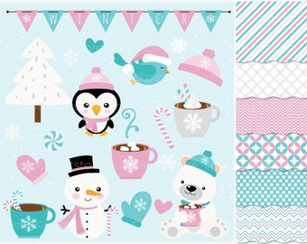 Clipart Combo - Frosty Friends / Christmas Clip Art / Digital Clipart - Instant Download