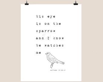 His eye is on the sparrow - digital print - printable file - inspirational - christian art - digital download - typography - faith