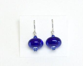 Cobalt Blue Mini Dangle French Hook Earrings