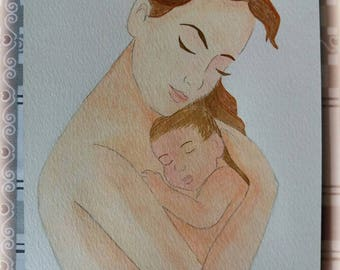 Watercolor - Mother's heart