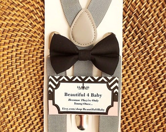 Baby Bow Tie, Black Baby Bow Tie, Black Toddler Bow Tie, Black Bow Tie, Bow Tie & Suspender Set- 6 Months to 5 Years Old