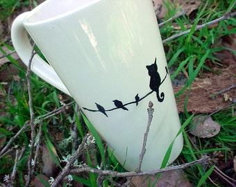 The impostor kitty cat tall pottery coffee mug tea black and white latte bistro 16 ounce