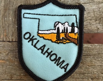 Oklahoma Vintage Souvenir Travel Patch from True to Life Iron On Emblems