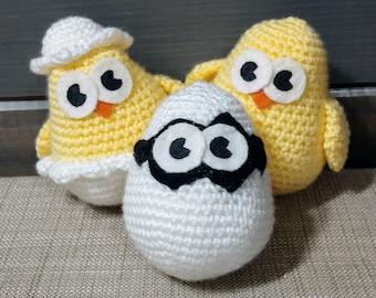 Crocheted Chick Set Stuffed Buddies