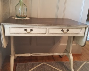 Lovely Antique Chalk Painted Drop Leaf Table
