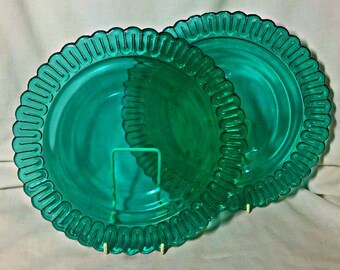 """Indiana Christmas Candy Glass  Teal  GREEN 9 5/8"""" Lg DINNER PLATE"""