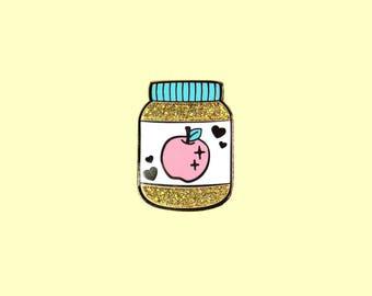 Applesauce Hard Enamel Glitter Pin - Precious Preserves Series