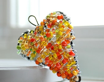 Wire Heart Ornament, Citrus Colors, Unusual Valentine, Wrapped Heart Beaded Ornament, Neon Wedding, Lightcatcher or Decoration - Juicy