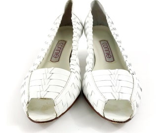 80s vintage connie white leather woven womens heels size 7M