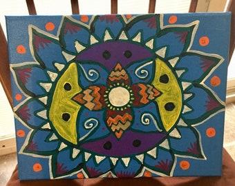 Blue & multicolor freehand acrylic paint Bohemian mandala