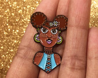 Black girl flower child daisy queen enamel pin