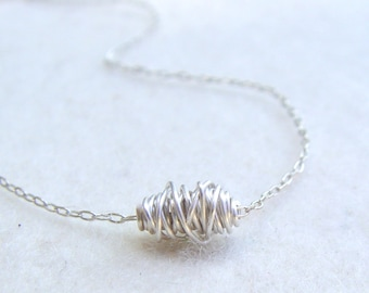 Wire Wrapped Simple Necklace, Sterling Silver Necklace, Silver Necklace, Tiny Sterling Silver Necklace
