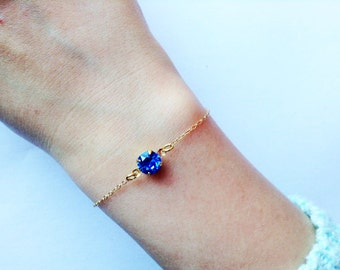 Sapphire bracelet, Blue bracelet, blue stone bracelet, cute bracelet, dainty bracelet, tiny jewelry , minimalist bracelet, dainty bracelet