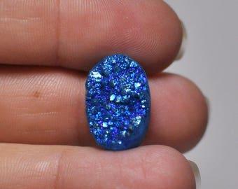 Natural Bright Blue Titanium Druzy Quartz Cabochon Gemstone Oval Shape Ring size 18x12x7.5 mm. 12.20 Cts.
