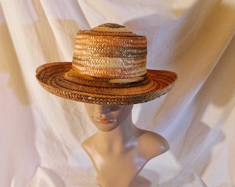 Miriam Lefcourt Straw Hat Elegantly Yours Handcrafted in Italy Raffia Accent