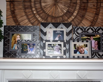 Gallery Wall, Distressed Picture Frames, Wall Collage, Set of 6 Frames, 8x10 Frame, 5x7 Frames, Wall Grouping, Gallery Wall Frames