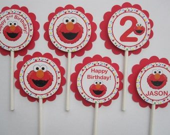 12 Elmo Birthday Party -  Cupcake Toppers