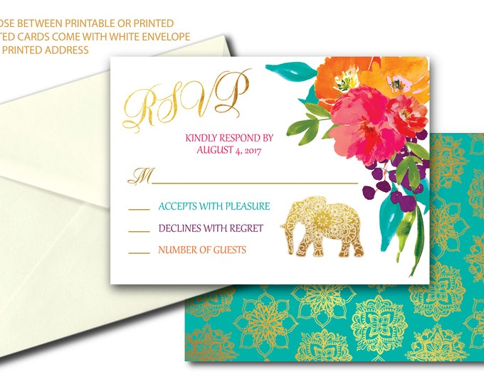 Elephant Mandala RSVP card / Indian / jewel tones / Bollywood / India / printed or printable / Pink / Gold / JAIPUR COLLECTION