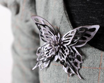 Leather butterfly pin, Purple and black butterfly brooch, Leather jewelry, MALAM