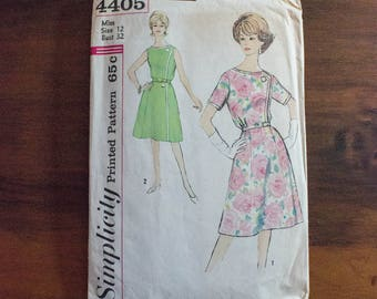 60s Simplicity 4405 Slenderette Misses' One Piece Dress Pattern- Size 12- Bust 32- Uncut