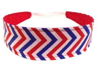 USA Women's Headband, Reversible Fabric Headband, Headband for Women - Chevron, Red, White & Blue - Patriotic Chevron - Olympics - AMERICA