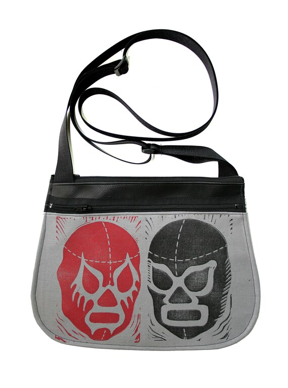 Luchadors, block print, grey, black, red, black vinyl, cross body, vegan leather, zipper top