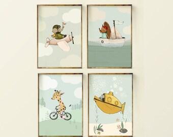 Adventure nursery, nursery decor, nursery bike, submarine  airplane nursery, Nursery Decor, Transportation art Art, kids giraffe, wall art