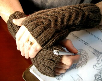 Hand knit brown alpaca blend fingerless gloves, brown cable knit mens mitts, warm winter accessory