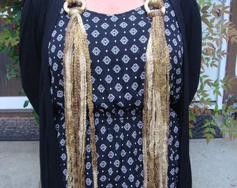 DIY - Knitting PATTERN  #157: Scarf Necklace and Belt Pattern with wood rings and fringe, 2 patterns in one - PDF Digital Pattern