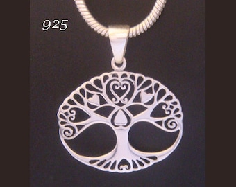 Tree of Life Necklace with 925 Sterling Silver Tree of Life Pendant Oval Shape Adorned with Hearts | Celtic Jewelry, Gifts for Women 039