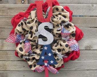 "22"" Patriotic Wreath- Fourth Of July Wreath- 4th Of July Wreath- Burlap 4th Of July Wreath- USA Wreath- Burlap Wreath- 4th Burlap Wreath"