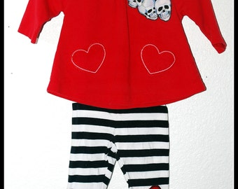 Girls Rockabilly 2 piece set in Red & White and Skulls n Bones, Red top  and Skinnies.... Size 3-6 months