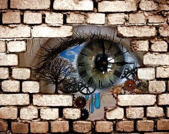 Steampunk Digital Print- Eye Behind the Wall
