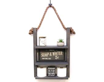 Bathroom Storage Shelf,  Modern Farmhouse Over Toilet Storage, Rustic Rope & Wood Shelves, Medicine Cabinet, Ladder Shelf