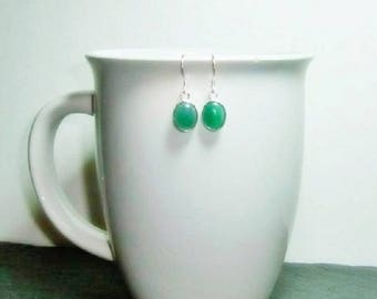 Green Agate  Gemstone Earrings , Sterling Silver Ear Wires