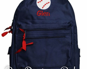 Boys Backpack, Baseball Backpack, Personalized Backpack, Monogrammed, Choose Your Own Colors, Custom Backpack